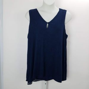 Style & Co Sleeveless Top Blouse Plus Sz 3X Blue